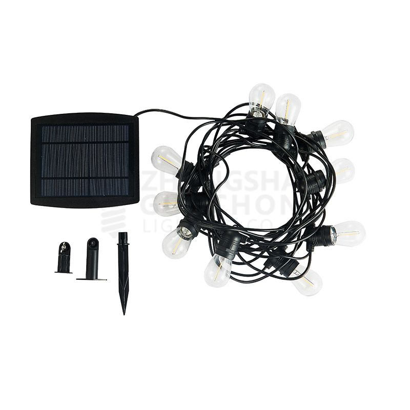 Solar, 10 E27 fixed SOCKET, OUTDOOR COMMERCIAL WEATHERPROOF STRING LIGHT, S14 BULBS, BLACK CORD