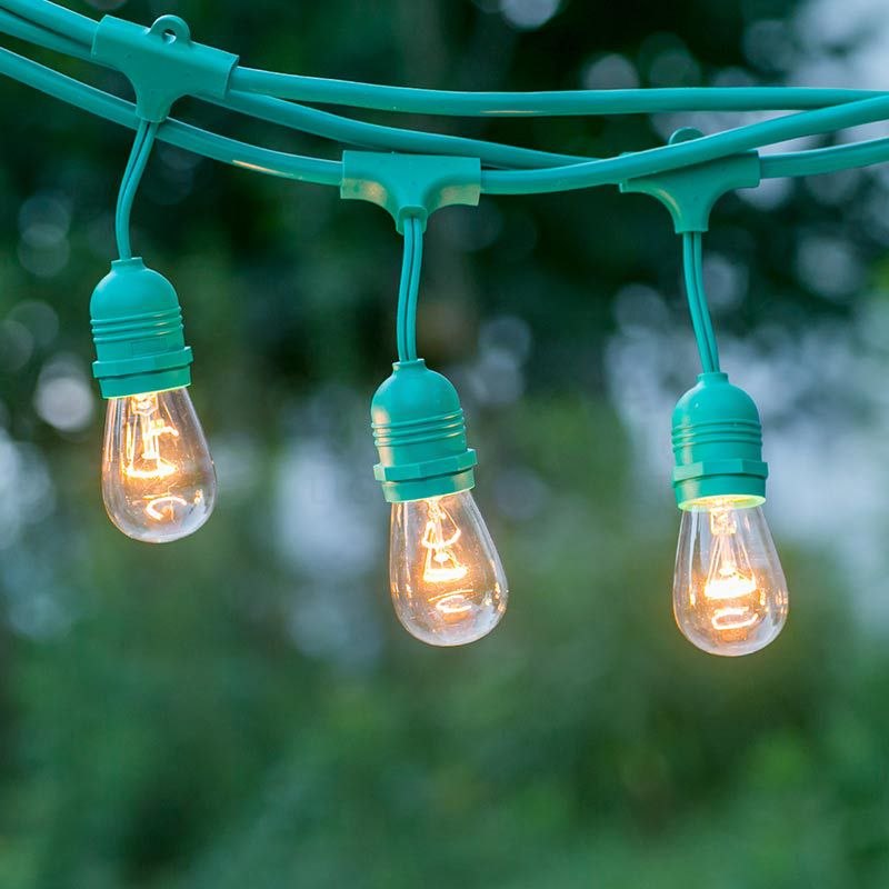 15 SUSPENDED SOCKET OUTDOOR COMMERCIAL WEATHERPROOF SJTW STRING LIGHT SET, S14 BULBS, 48FT CORD W E26, 14AWG