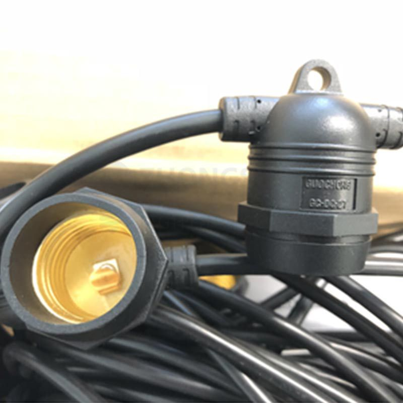 10 SOCKET OUTDOOR COMMERCIAL STRING LIGHT SET,16 AWG, 21 FT CORD, S14 11W, WEATHERPROOF