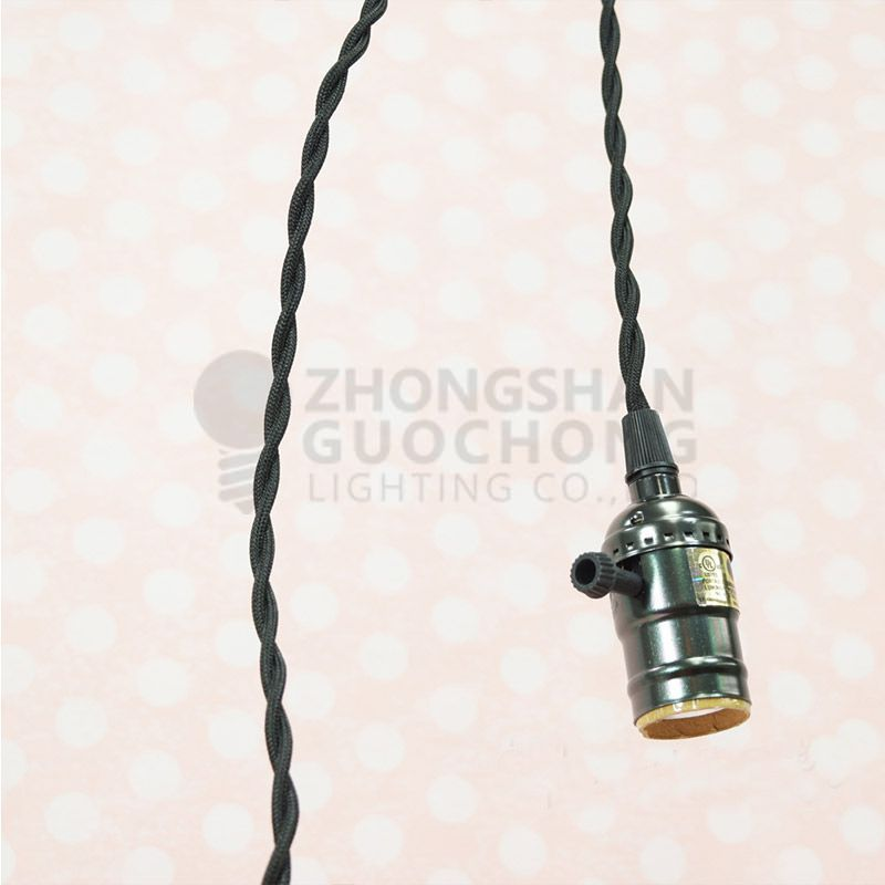 SINGLE COPPER SOCKET VINTAGE-STYLE PENDANT LIGHT CORD W DIMMER, 11 FT TWISTED CLOTH CORD